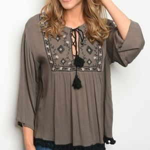 millibon USA Tops - 3 FOR $40 • NEW Super Cute Olive Boho Tunic